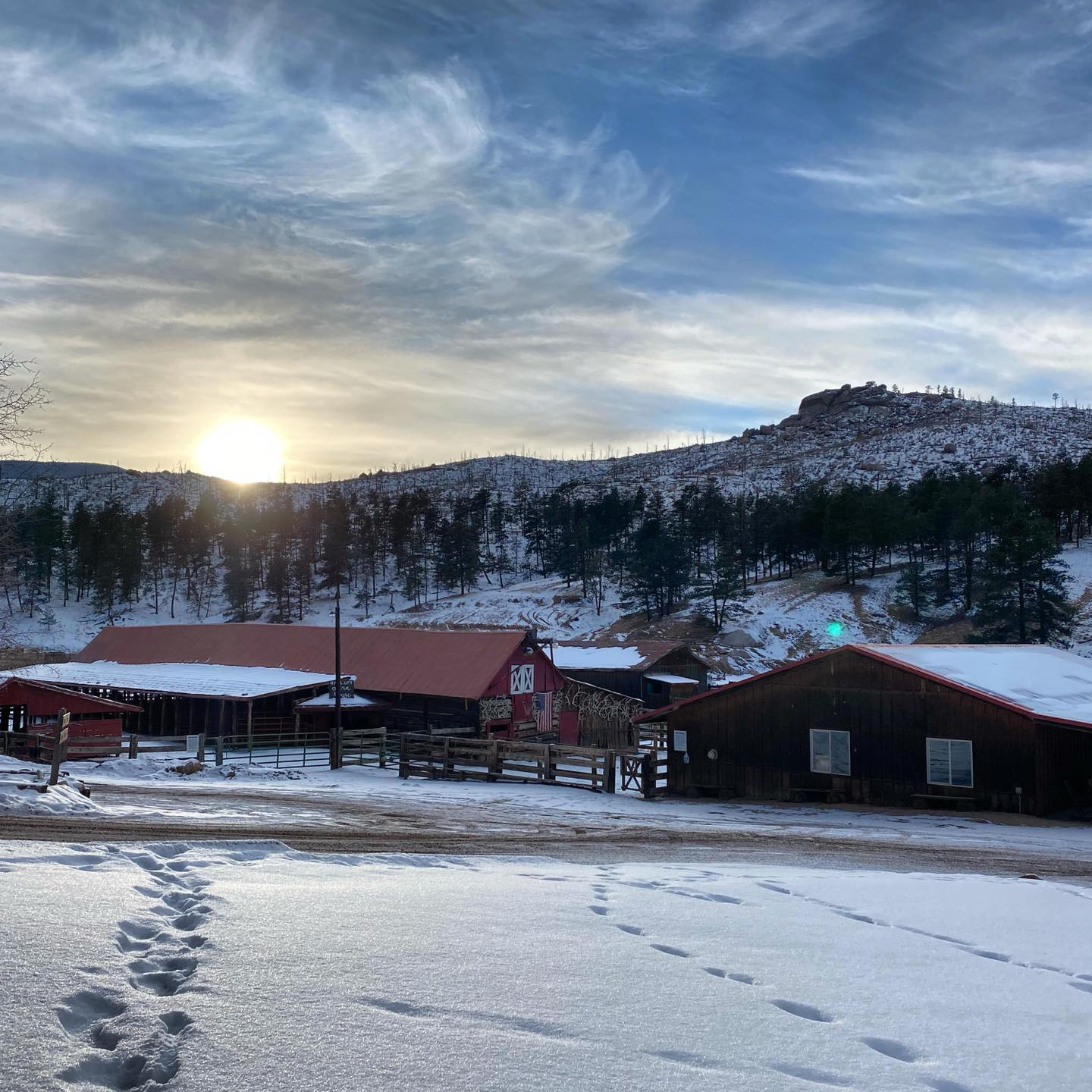 Image of the sun setting at lost valley ranch, colorado