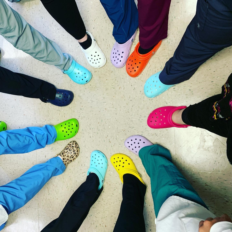 Image of nurses and doctors wearing crocs