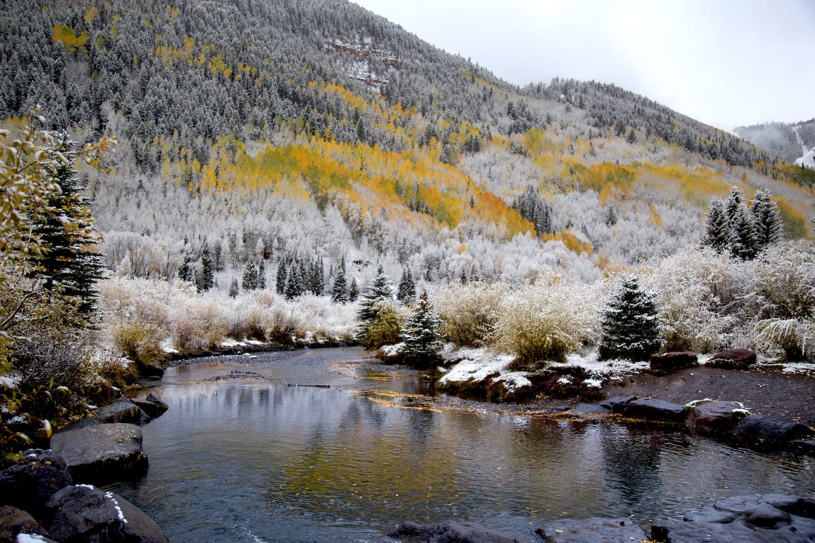 San Miguel River Telluride CO Fall Snow