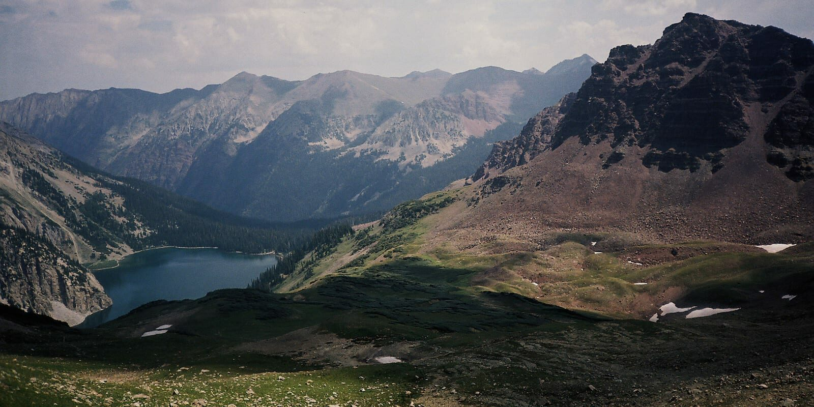 Snowmass Lake, view from Trail Rider Pass Colorado