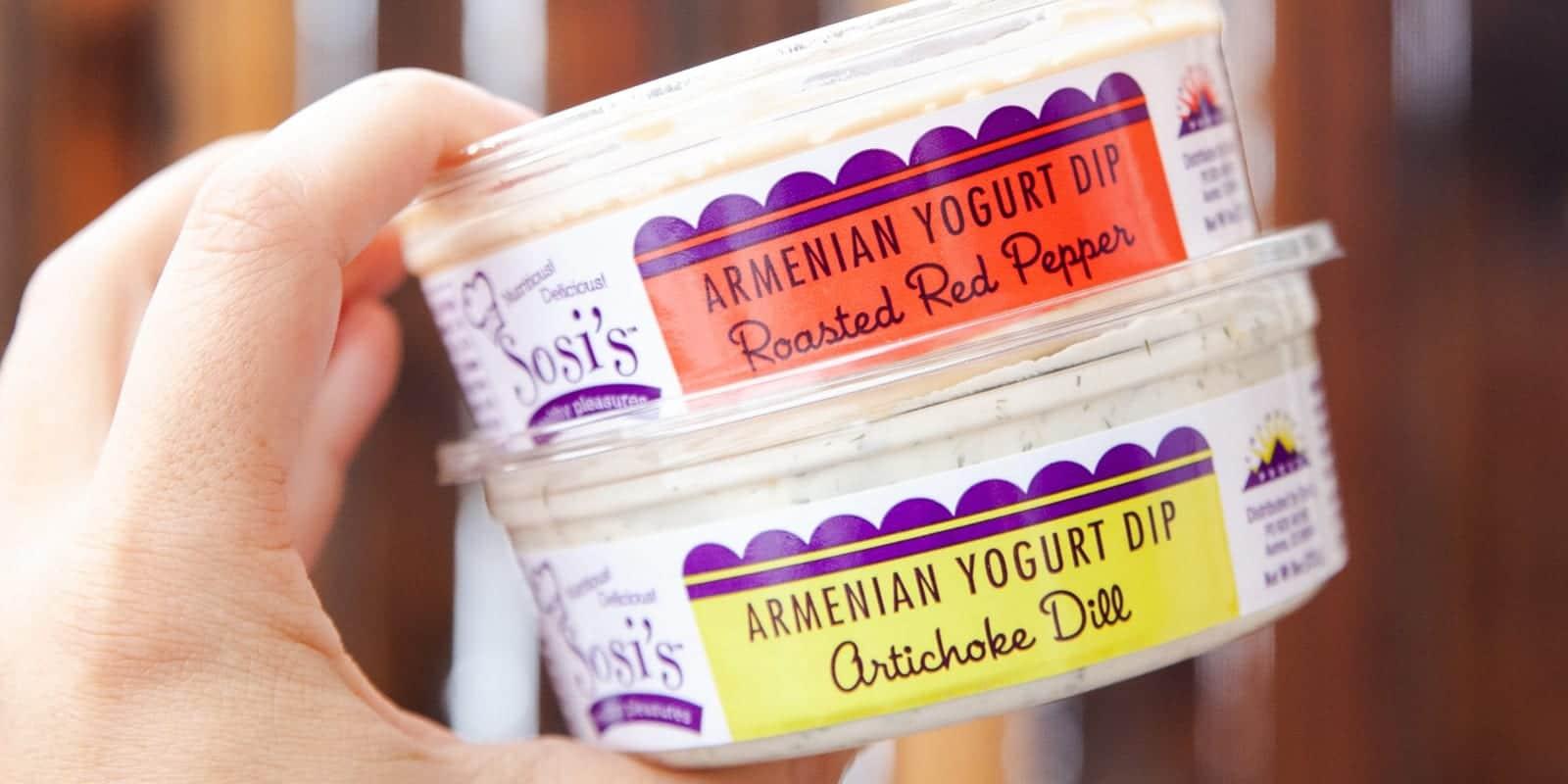 Image of Sosi's Healthy Pleasures red roasted pepper and artichoke dill yogurt dip