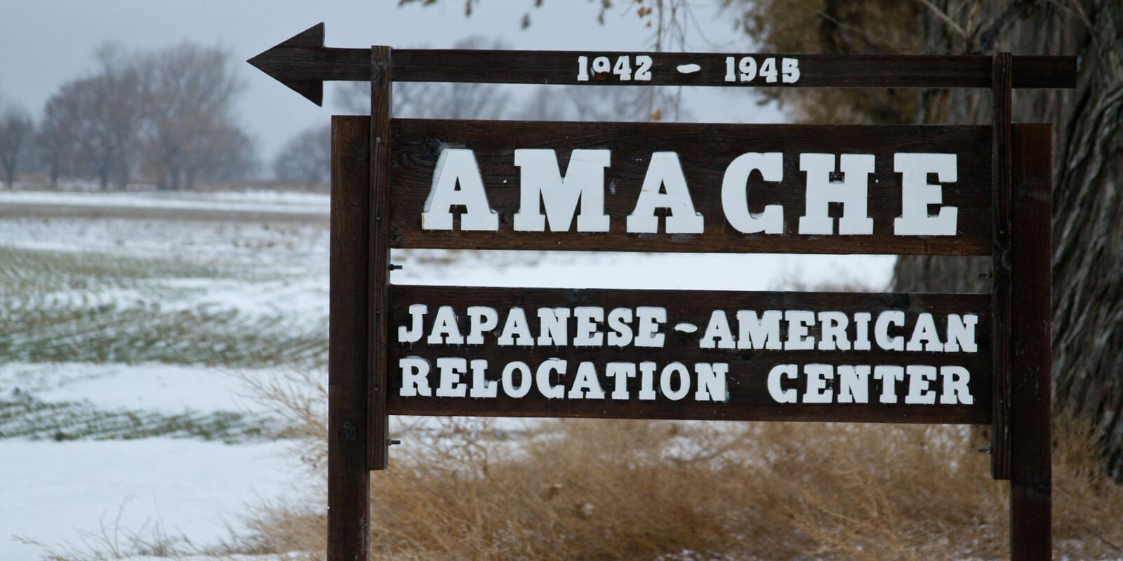 Image of the sign for the Amache Japanese-American Relocation Center in Colorado