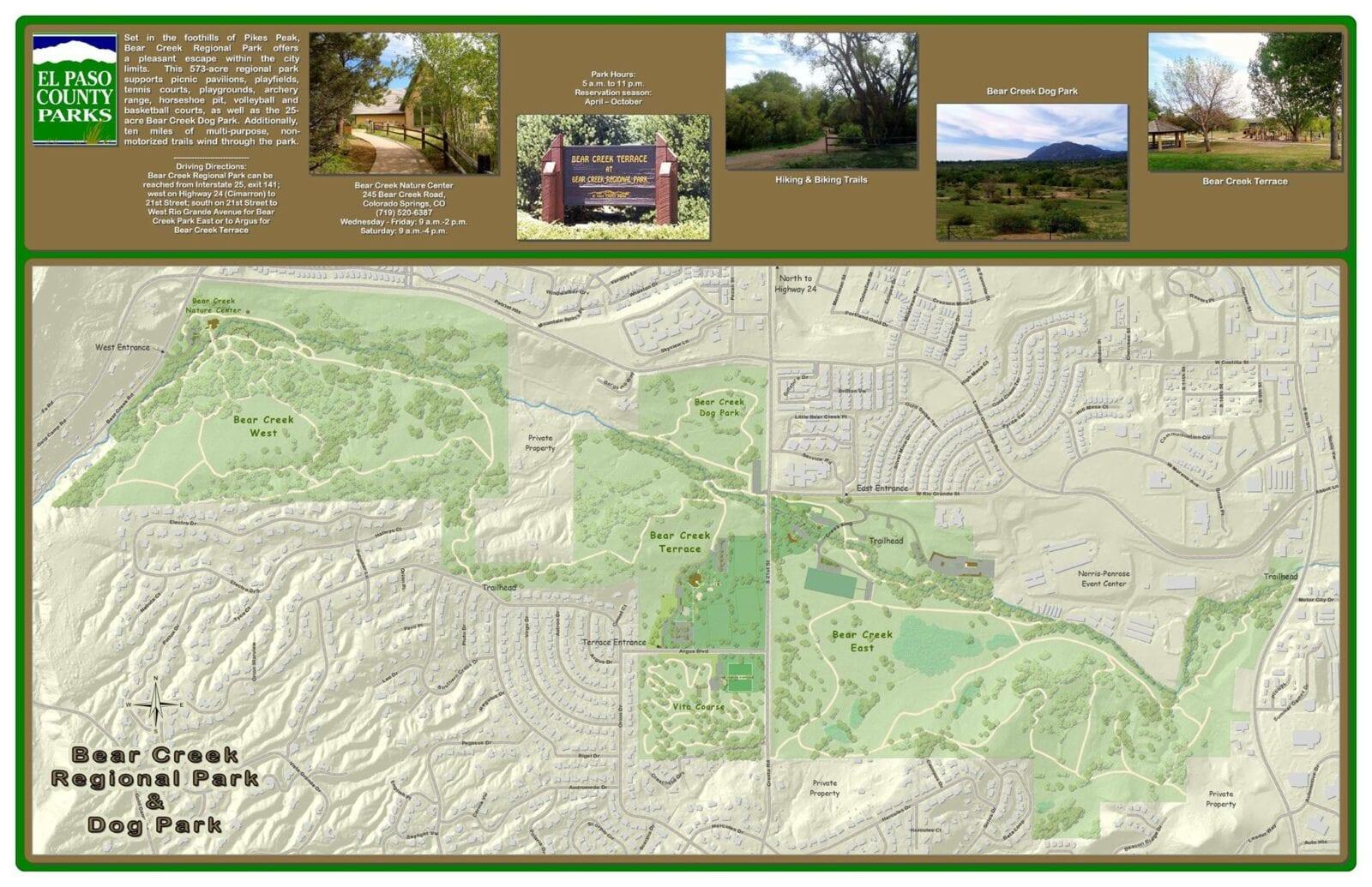 Image of the Bear Creek Regional Park & Dog Park map in Colorado Springs, Colorado