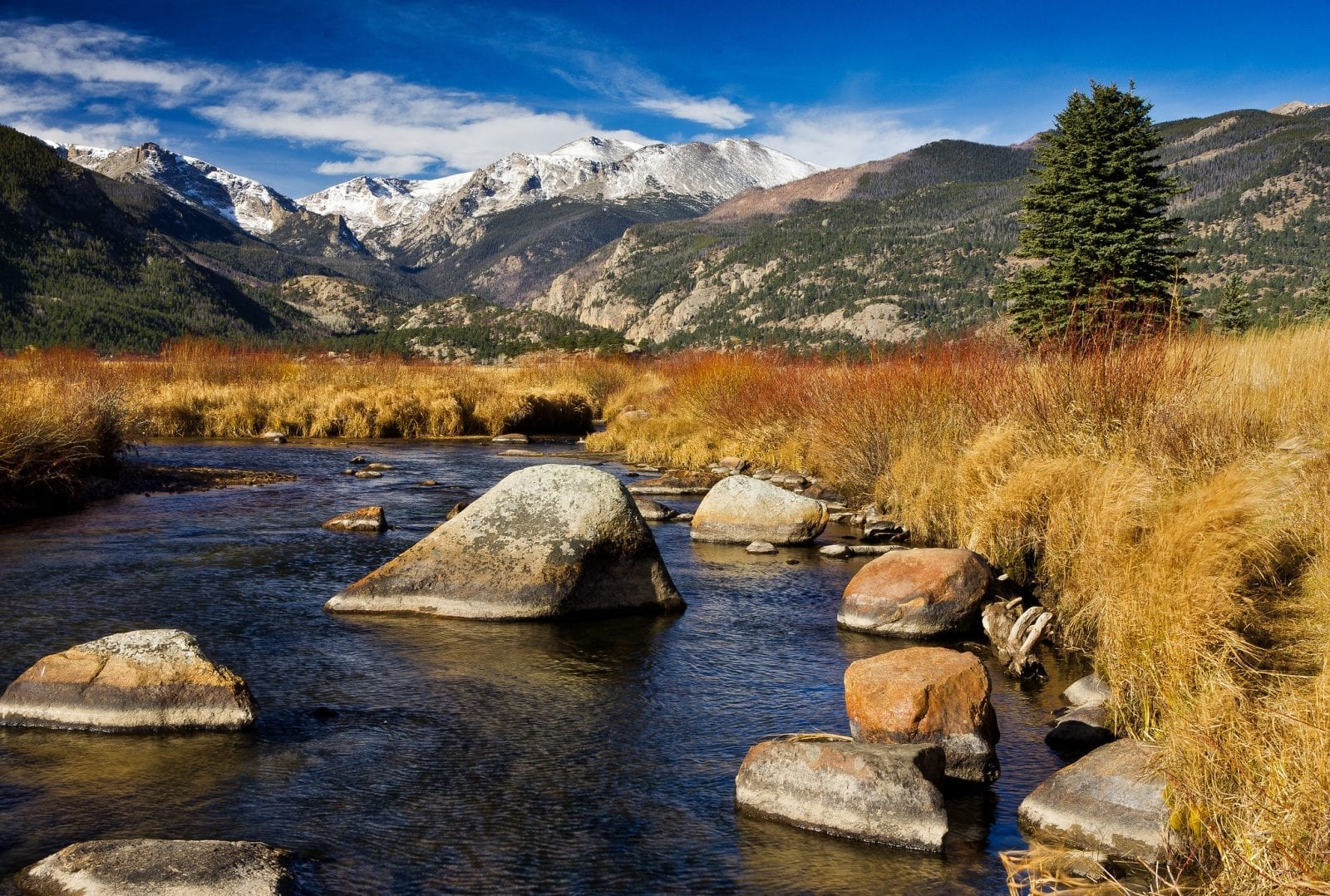 Image of the Big Thompson River with mountains in the background