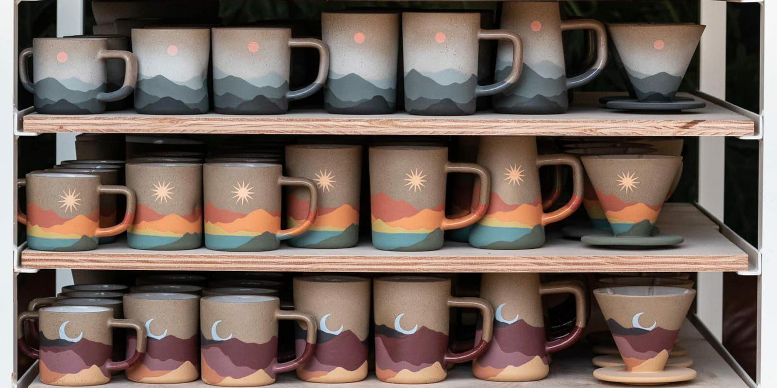 Image of racks of Callahan mugs