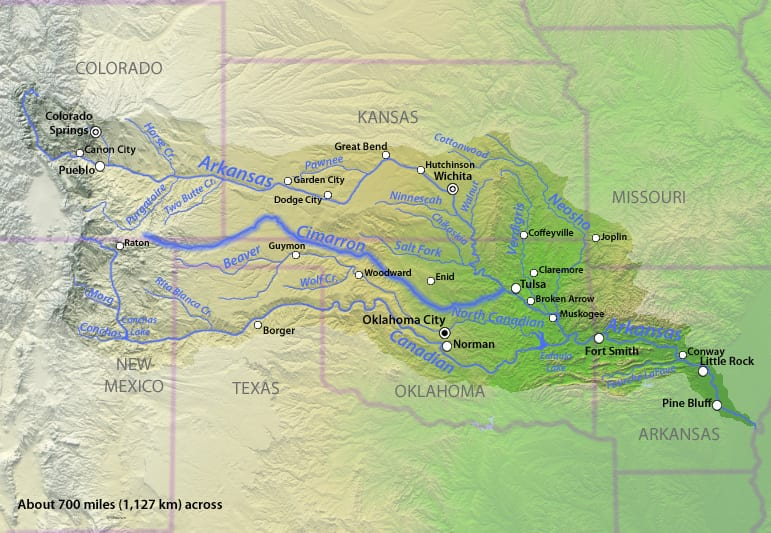 Image of the Cimarron River on a map
