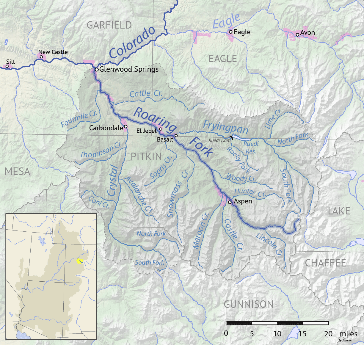 Image of the Crystal River and Roaring Fork River map