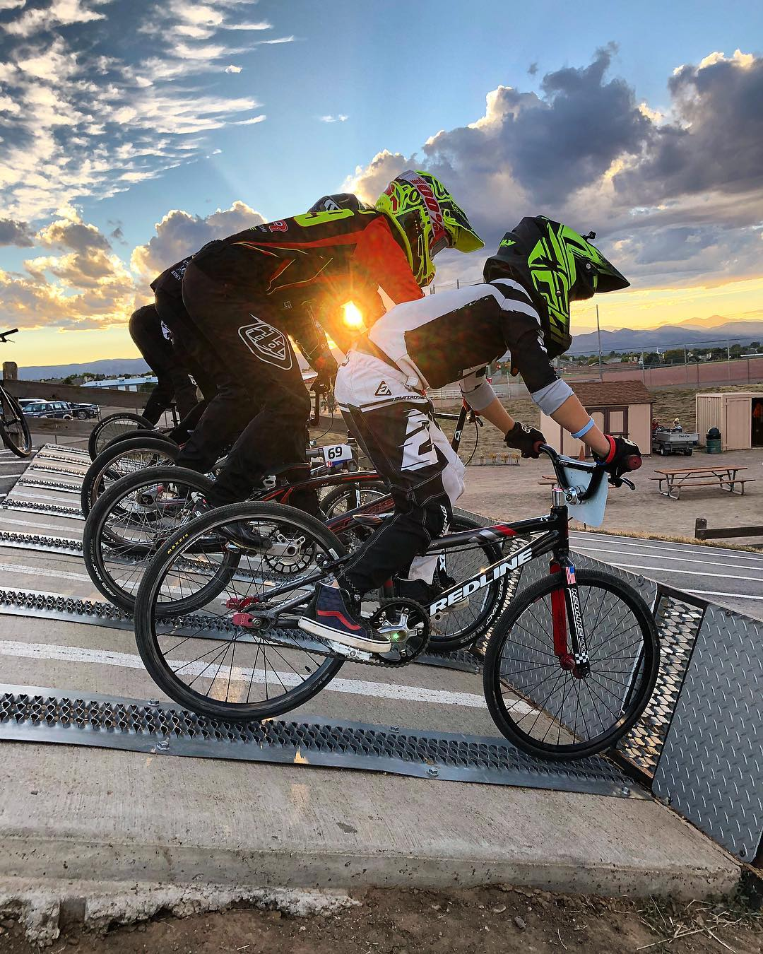 Image of BMX bikers at the County Line BMX at David A Lorenz Park in Highlands Ranch, Colorado