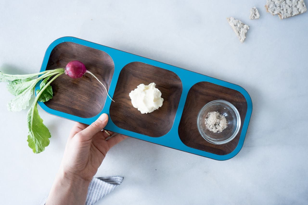 Image of a David Rasmussen wooden tray with a beet, salt, and cheese