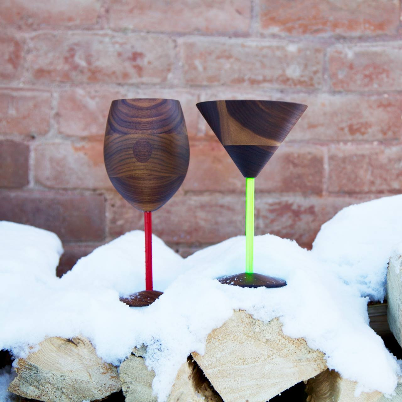 Image of David Rasmussen wooden wine and martini glasses