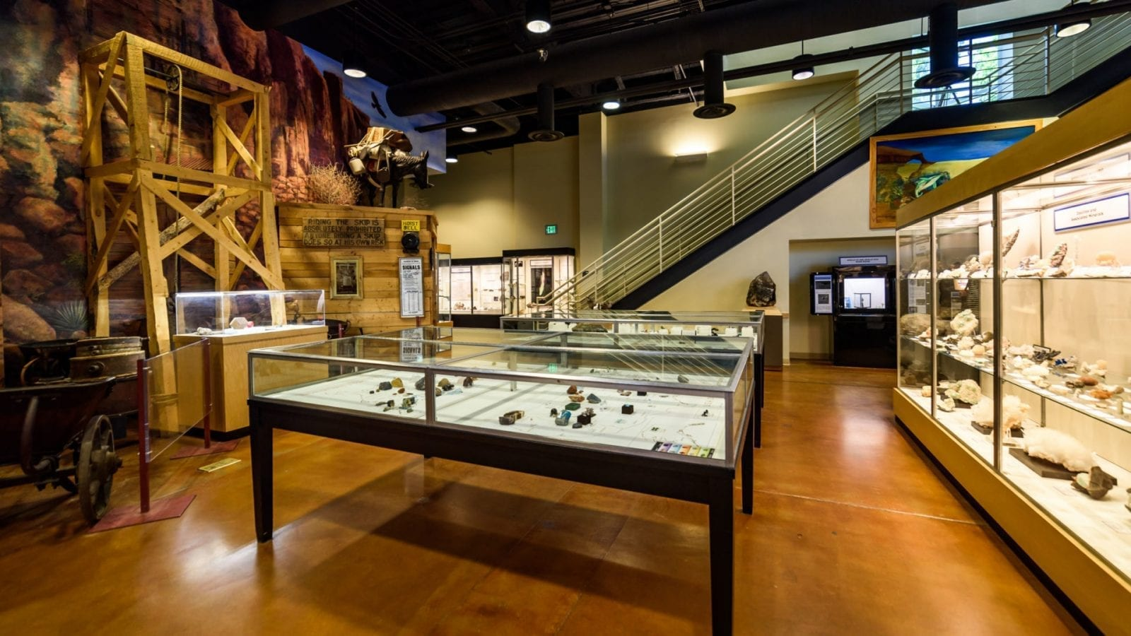 Image of the showcases at the Mines Museum in Golden, Colorado