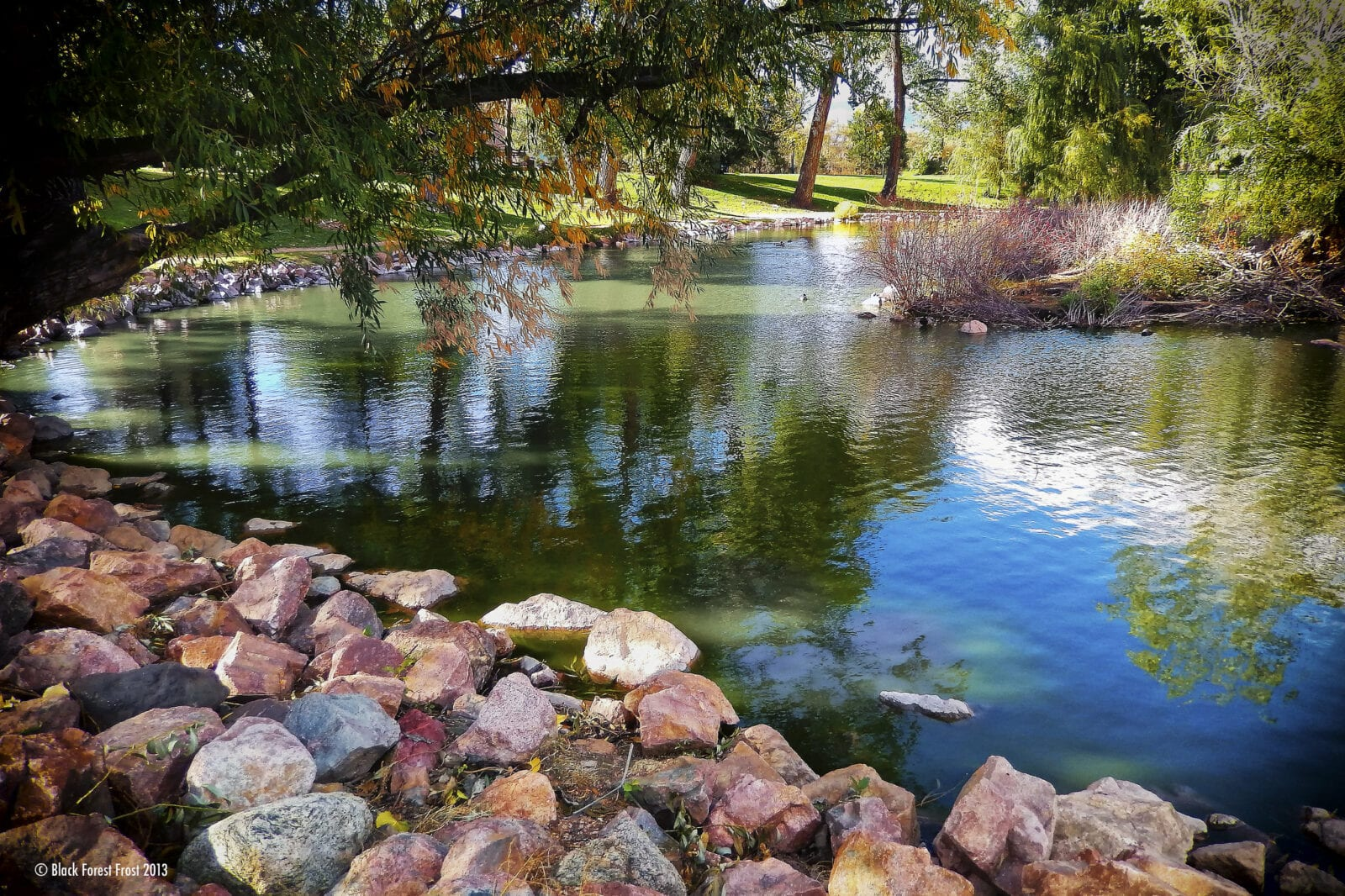 Image of a pond at the Monument Valley Park in Colorado Springs, Colorado