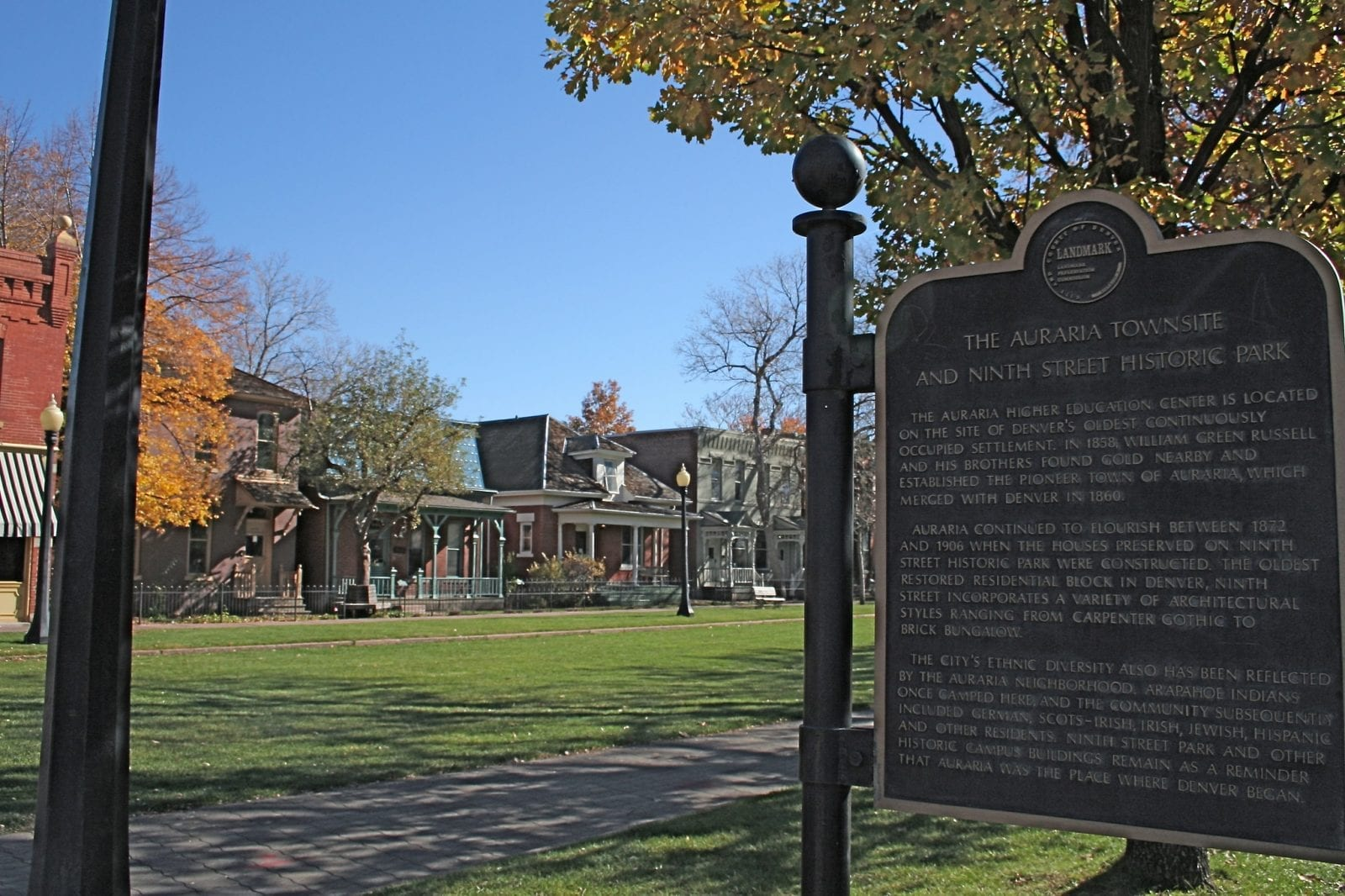 Image of the sign explaining the history of the Ninth Street Historic Park in Denver, Colorado