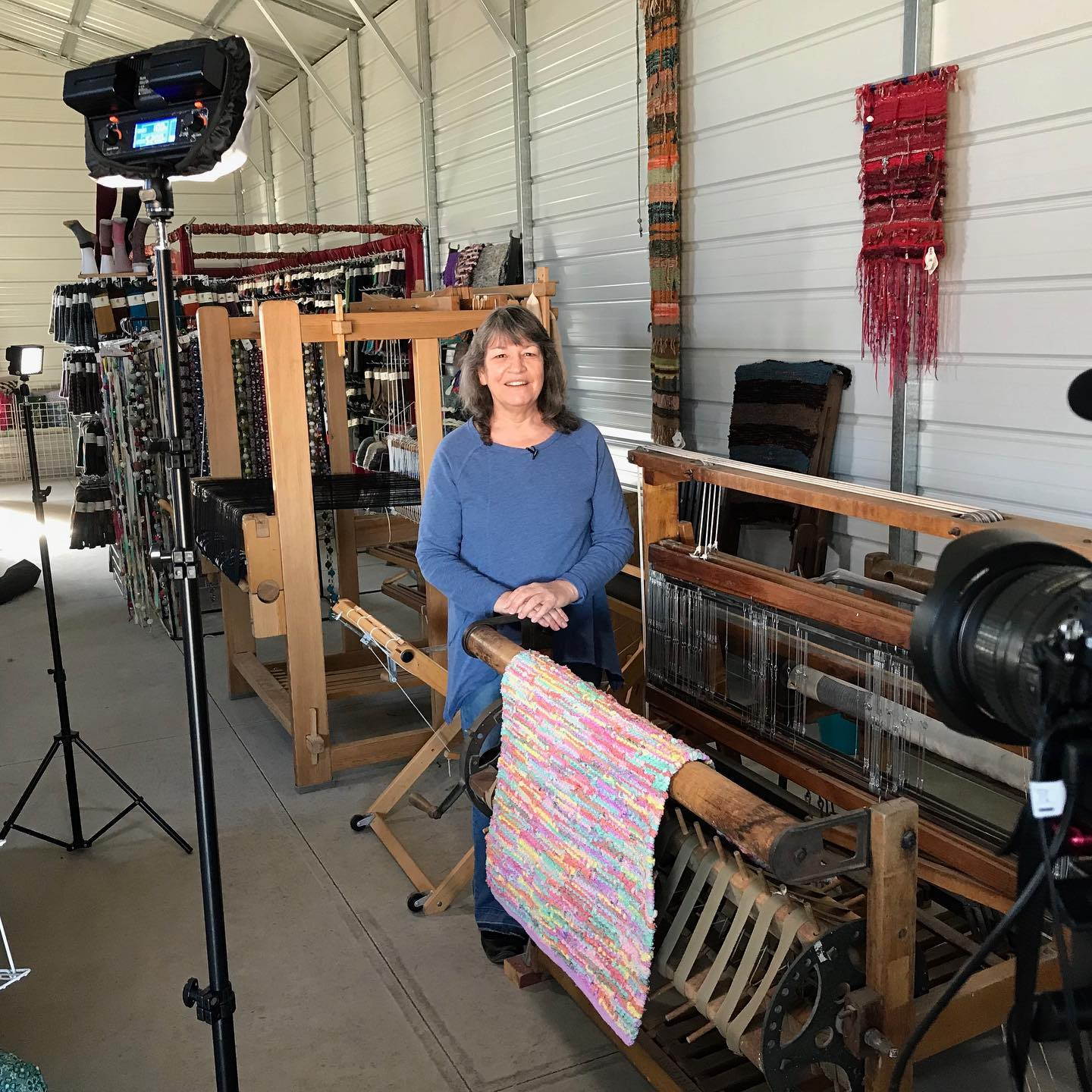 Image of the owner being interview at Phoenix Fiber Mill in Olney Springs, Colorado