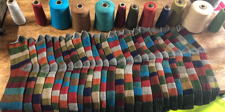 Image of socks made at Phoenix Fiber Mill in Olney Springs, Colorado