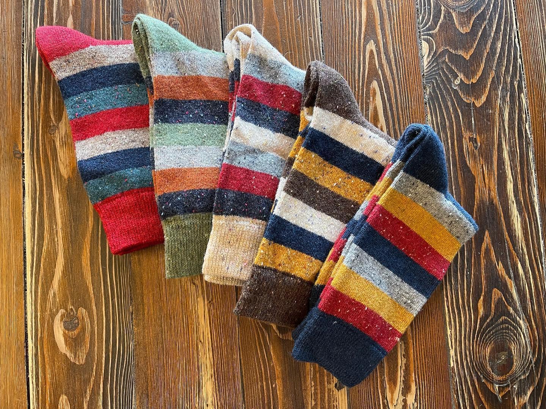 Image of stripped socks produced at Phoenix Fiber Mill in Olney Springs, Colorado