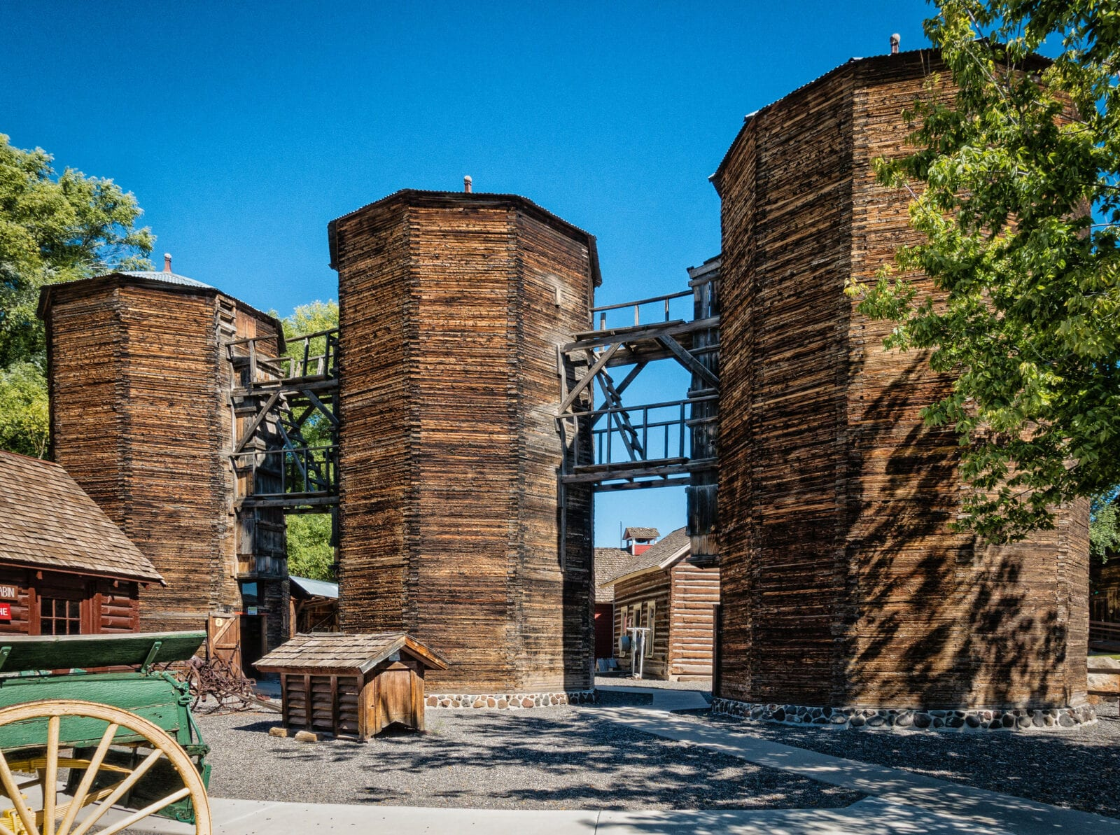 Image of the barn silos at the Pioneer Town Museum in Cedaredge, Colorado