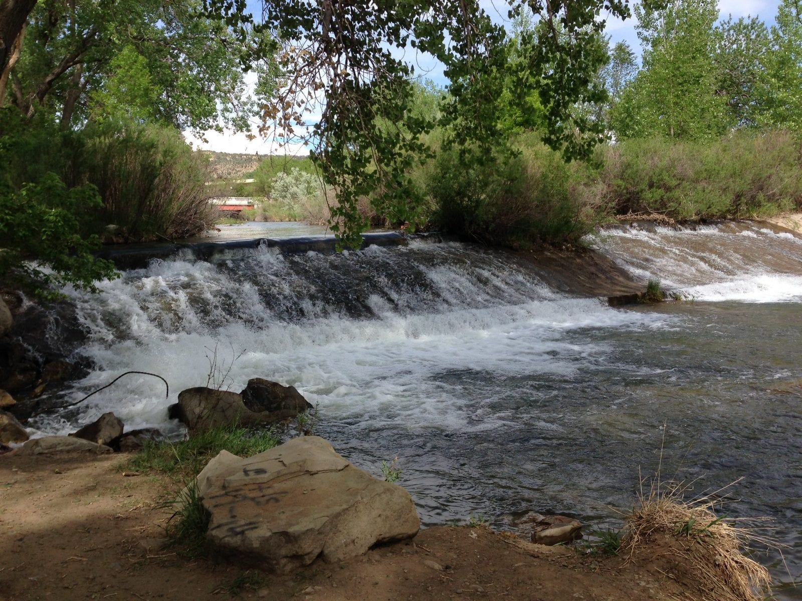 Image of a small waterfall along the Purgatoire River in Colorado