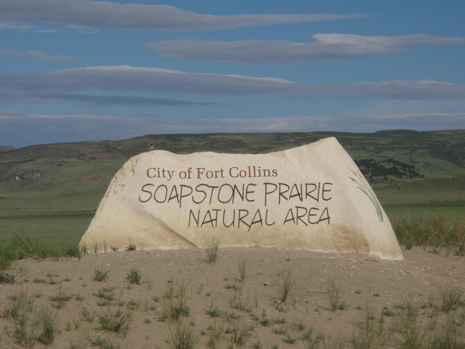 Image of the rock sign at Soapstone Prairie Natural Area in Fort Collings, Colorado
