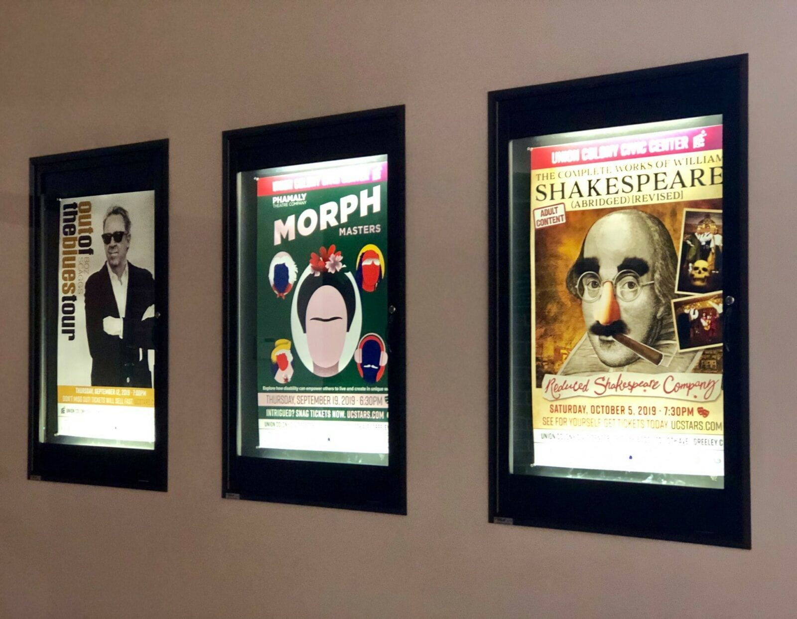 Image of the upcoming posters at Union Colony Civic Center in Greeley, Colorado