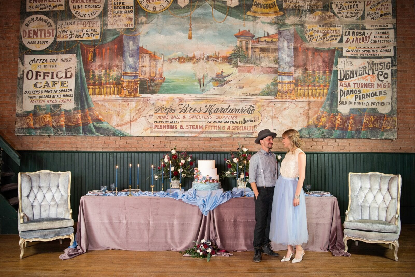 Image of a couple having their wedding at Wright's Opera House in Ouray, Colorado