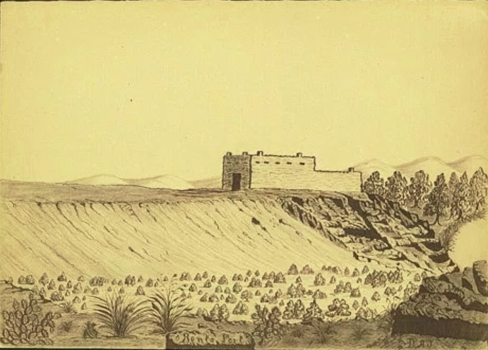 Image of the earliest known sketch of Bent's New Fort in Lamar, Colorado