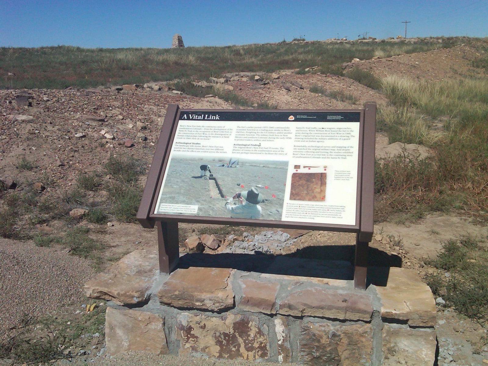 """Image of the """"A Vital Link"""" sign at Bent's New Fort in Lamar, Colorado"""