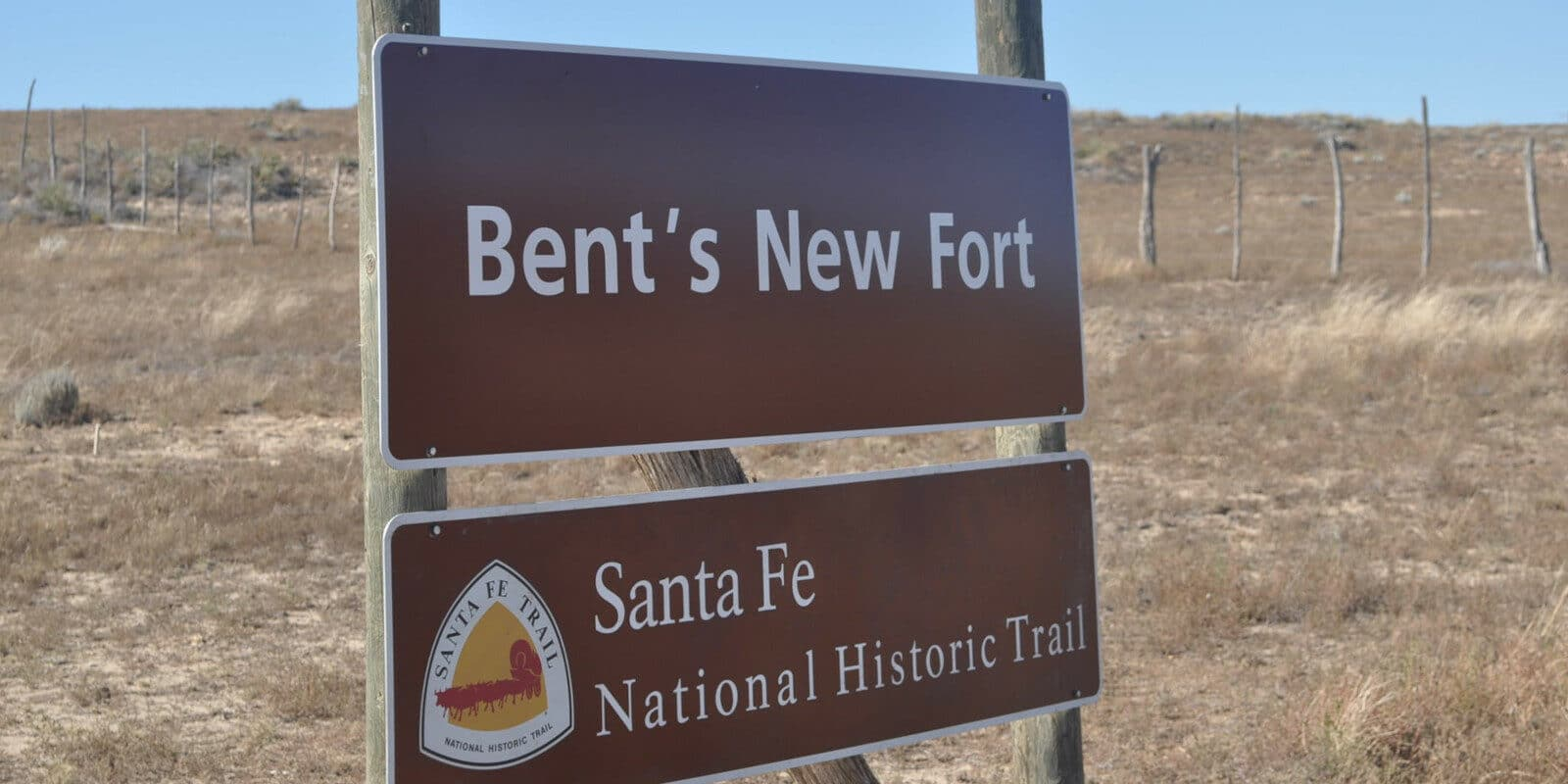 Image of the sign for Bent's New Fort in Lamar Colorado
