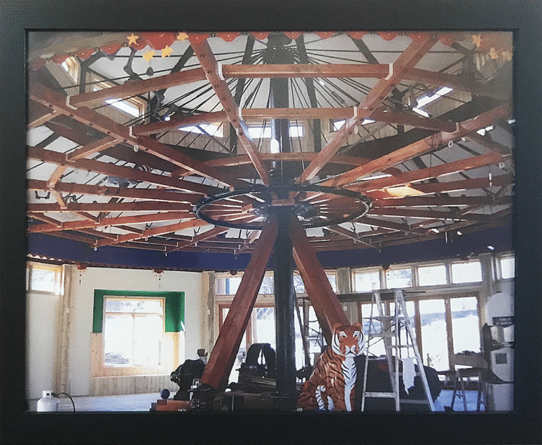 Image of the assembly of the Carousel of Happiness in Nederland, Colorado