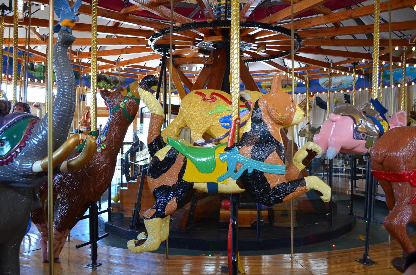 Image of some of the carved animals on the Carousel of Happiness in Nederland, Colorado