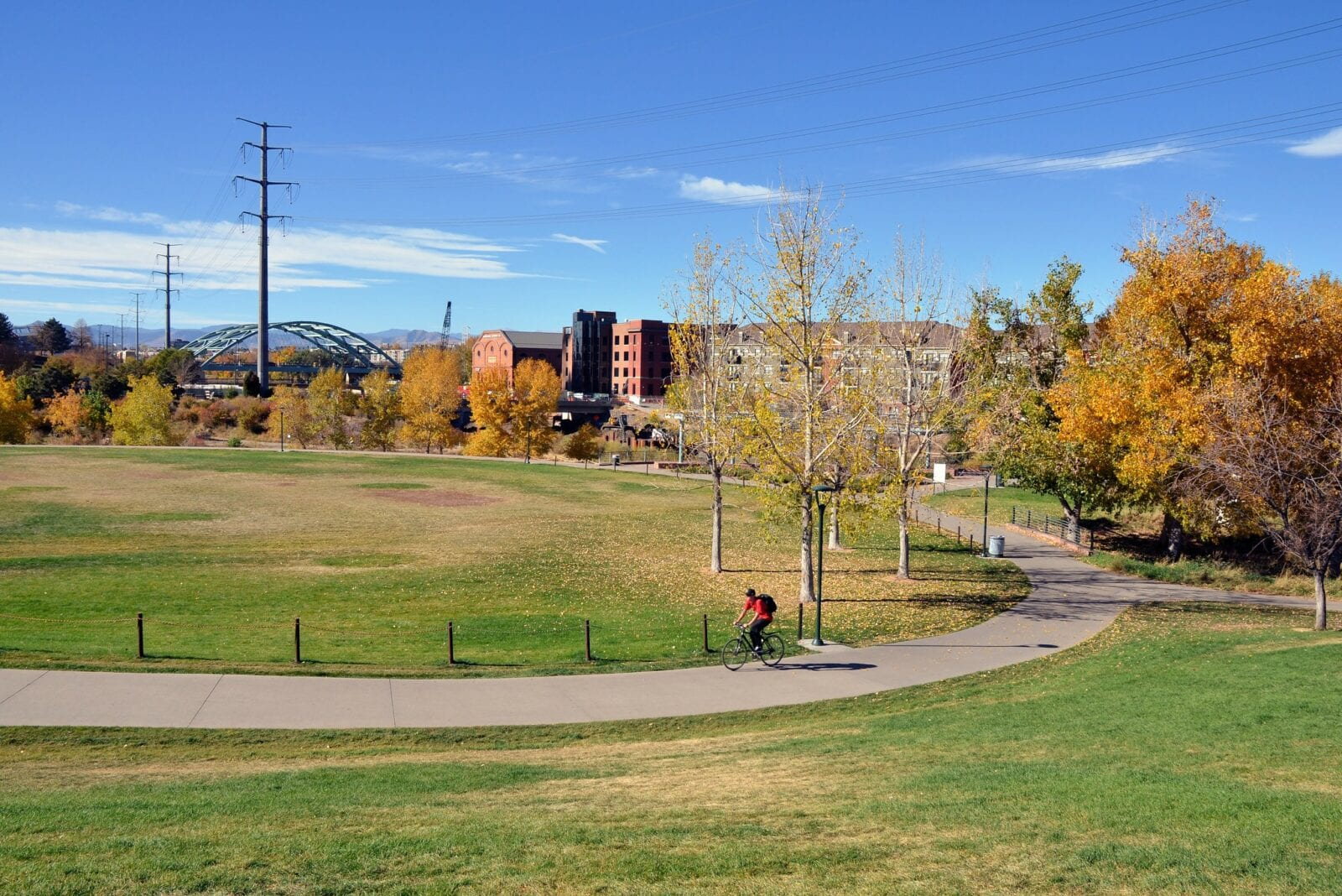 Image of a biker in Commons Park in Denver, Colorado