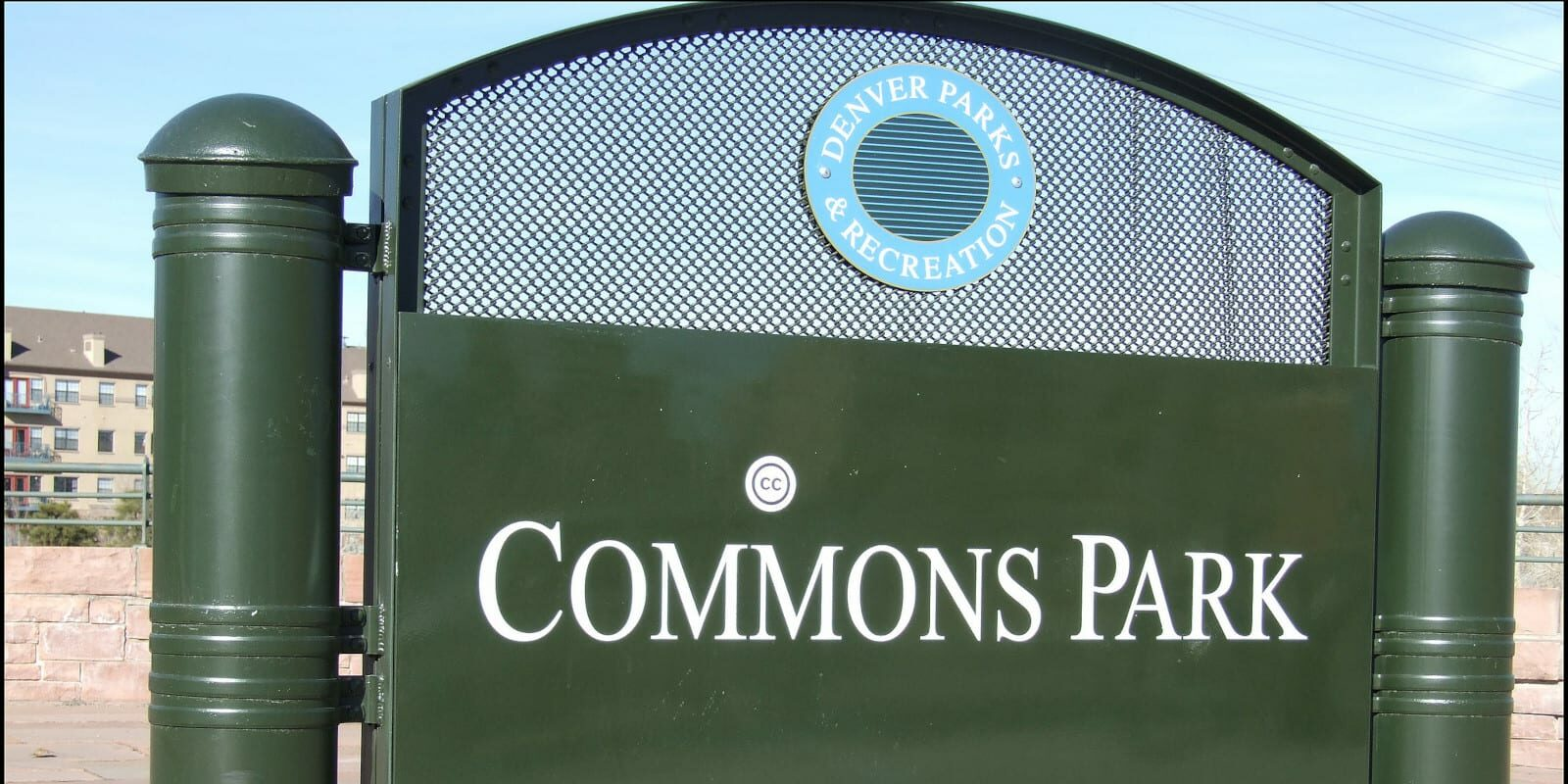 Image of the Commons Park sign in Denver, Colorado