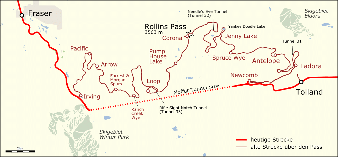 Image of the map of Moffat Tunnel leading to the ghost town of Corona, Colorado