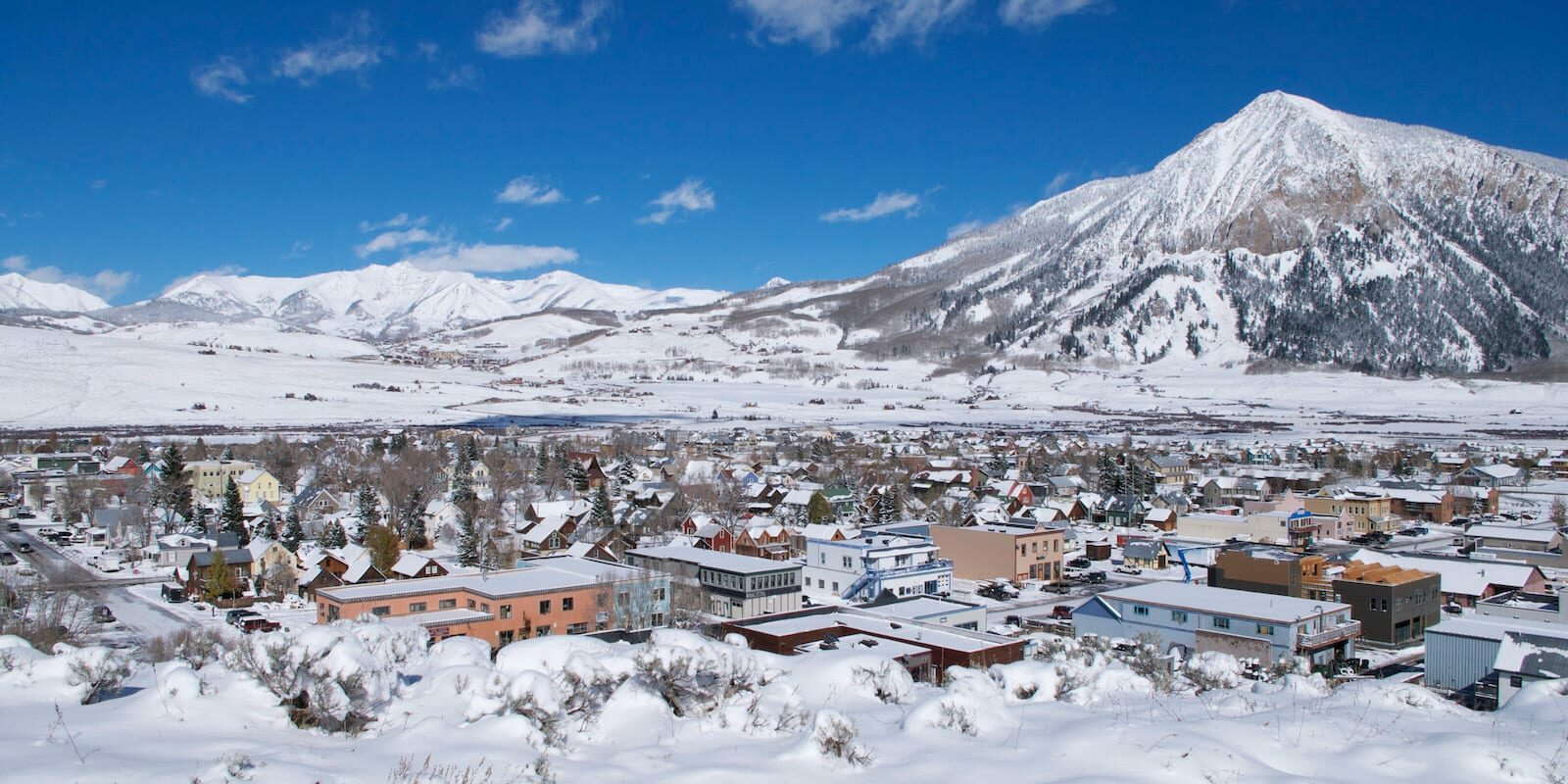Crested Butte Town and Mountain in Winter