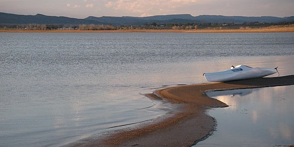 Image of a boat on the water at Douglas Reservoir in Fort Collins, Colorado