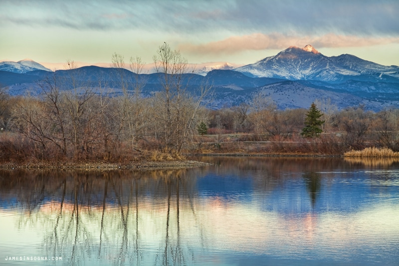 Image of the mountain reflection at Golden Pond Park in Longmont, Colorado