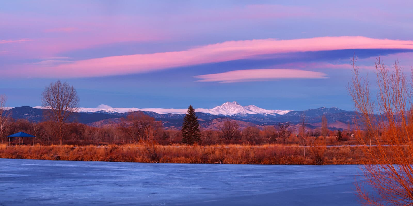 Image of Golden Ponds Park in Longmont, Colorado colored pink and blue