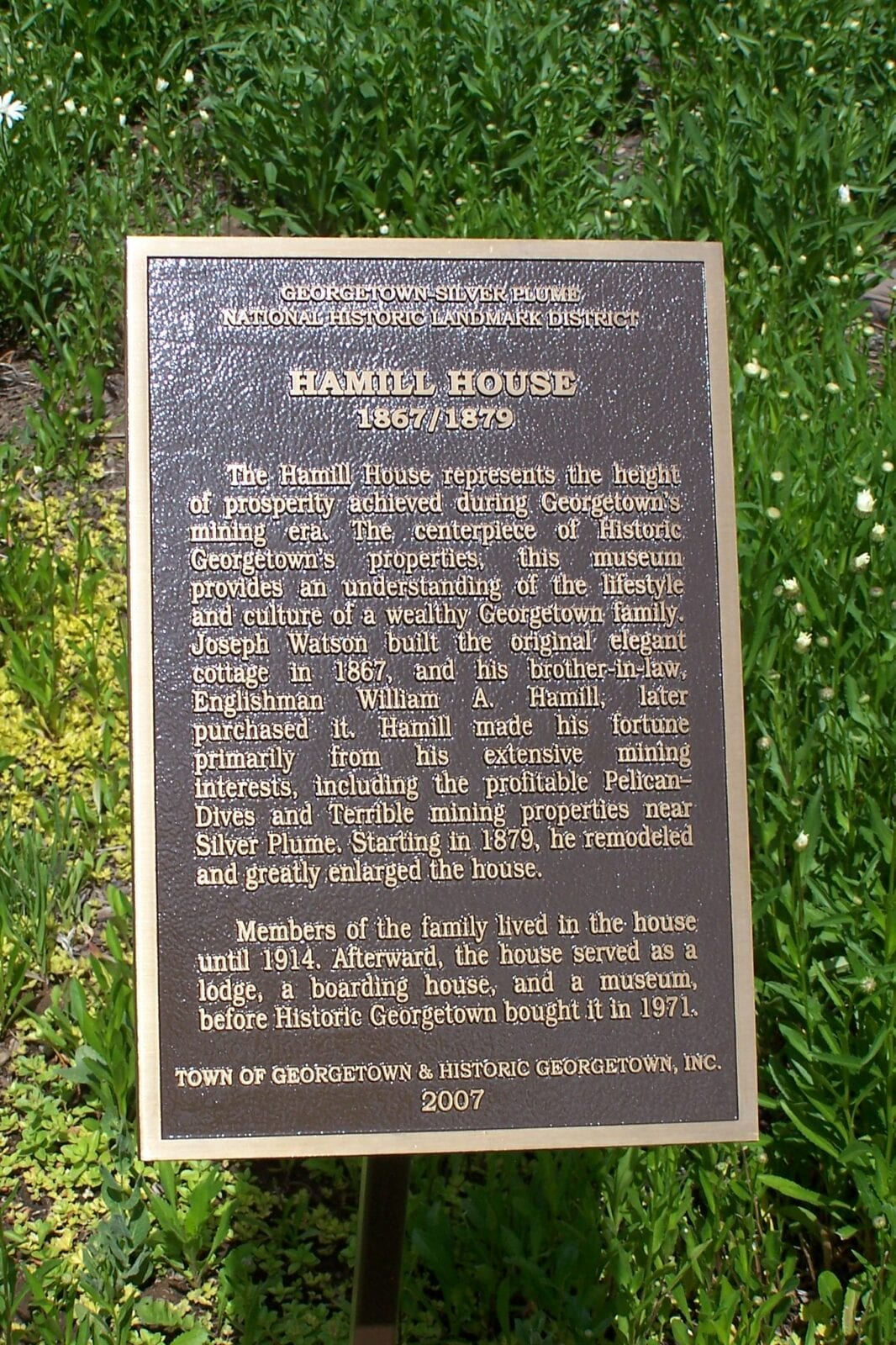 Image of the history sign at the Hamill House Museum in Georgetown, Colorado