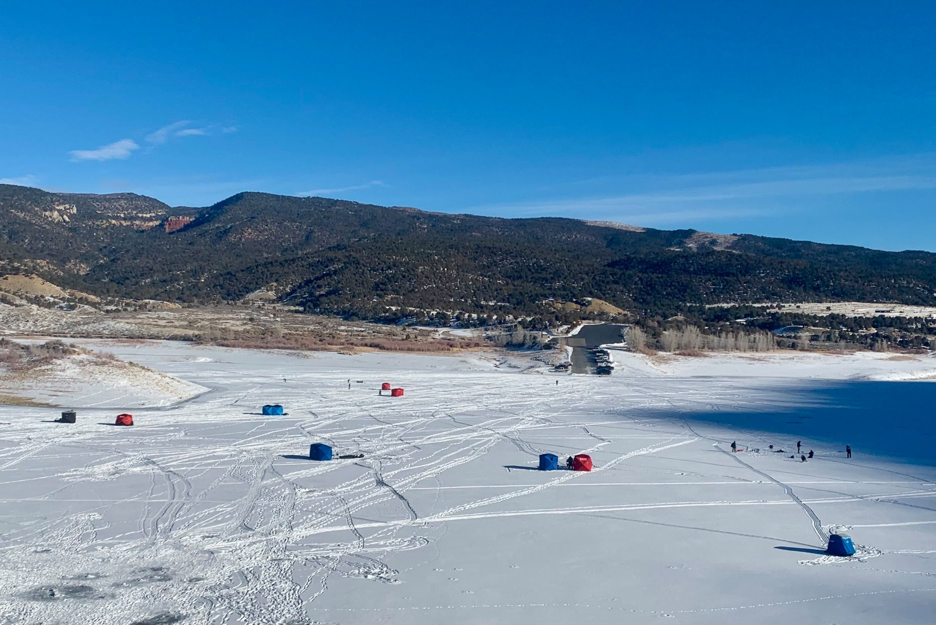 image of ice fishing at harvey gap state park