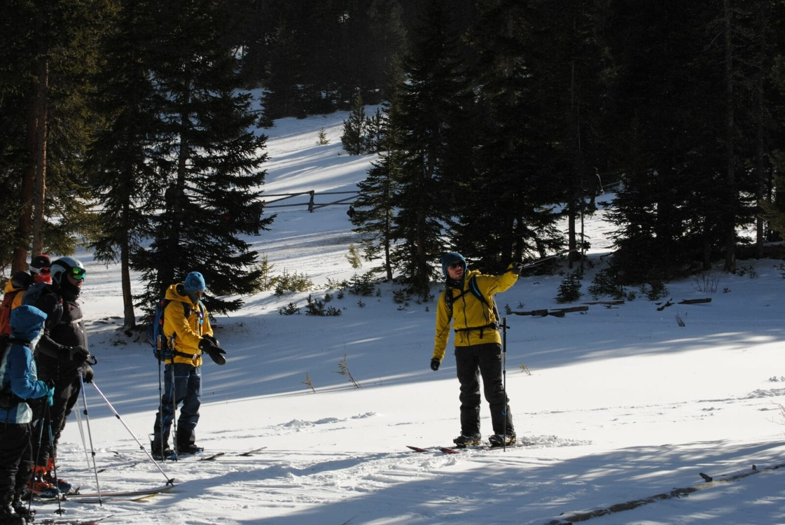 Image of instructors teaching avalanche safety at Kent Mountain Adventure Center in Estes Park, Colorado