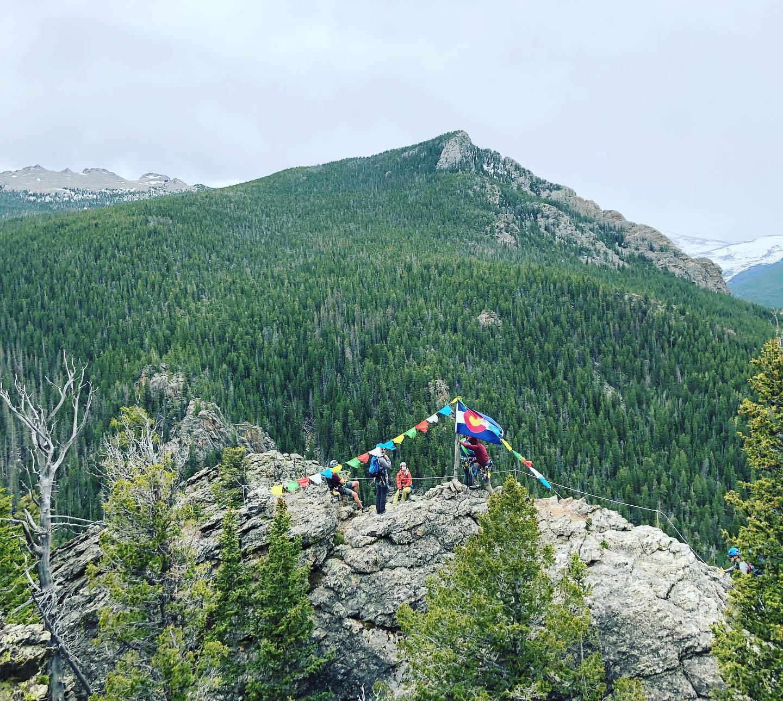 Image of the Colorado Flag at the Kent Mountain Adventure Center in Estes Park, Colorado