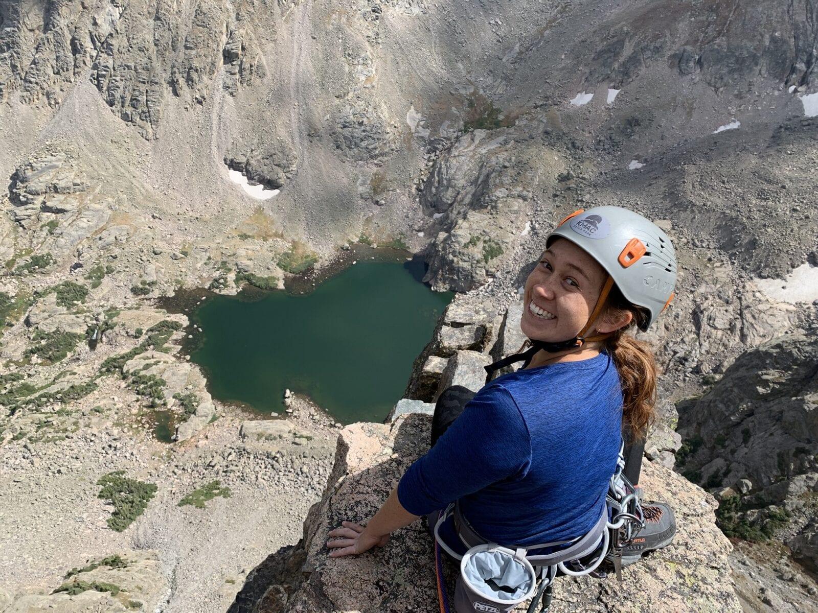 Image of a woman on the Via Ferrata at at Kent Mountain Adventure Center in Estes Park, Colorado