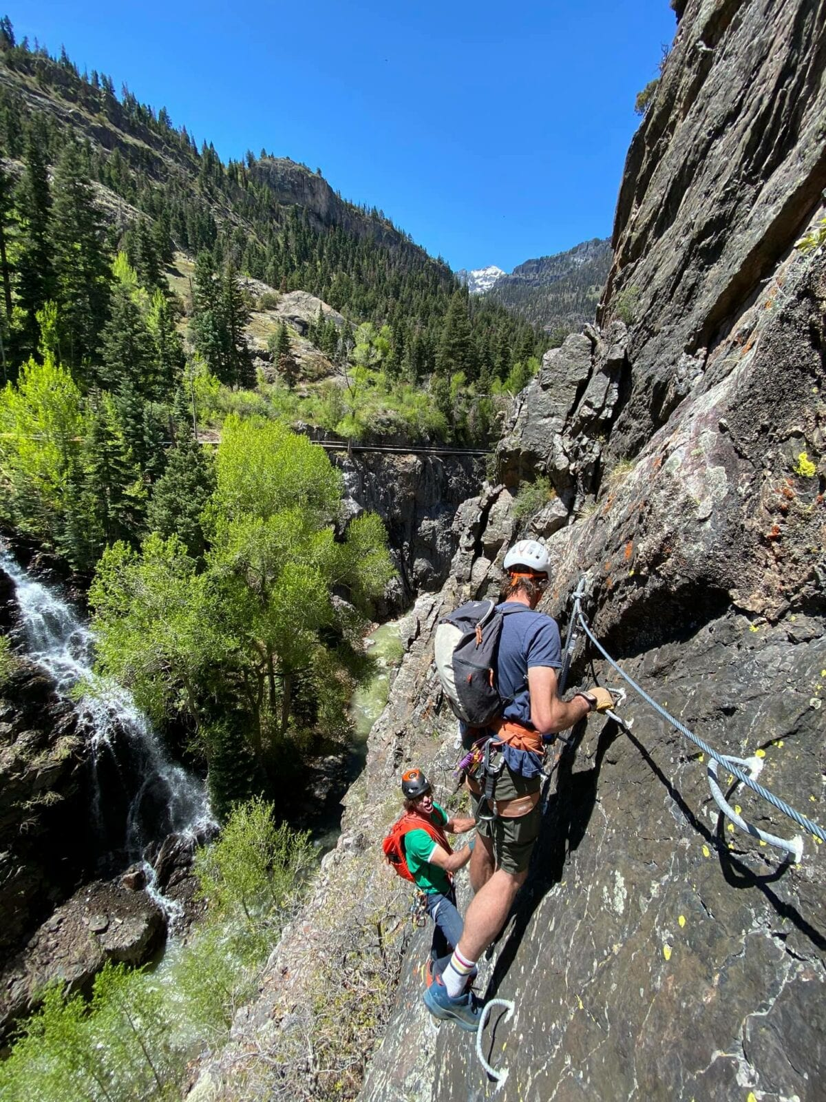 Image of climbers on the Ouray Via Ferrata in Colorado