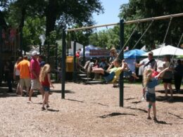 Image of kids playing on the playground at Parish Park in Johnstown, Colorado