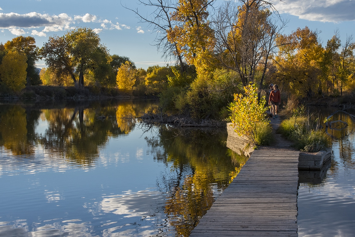 Image of the bridge at Riverbend Ponds Natural Area in Fort Collins, Colorado