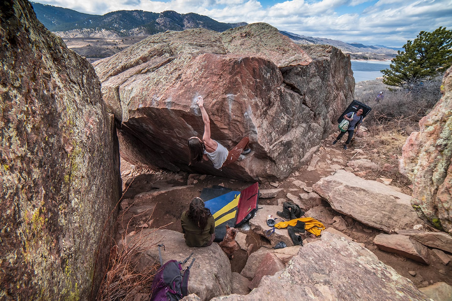 Image of a woman bouldering at Rotary Park in Fort Collins, Colorado