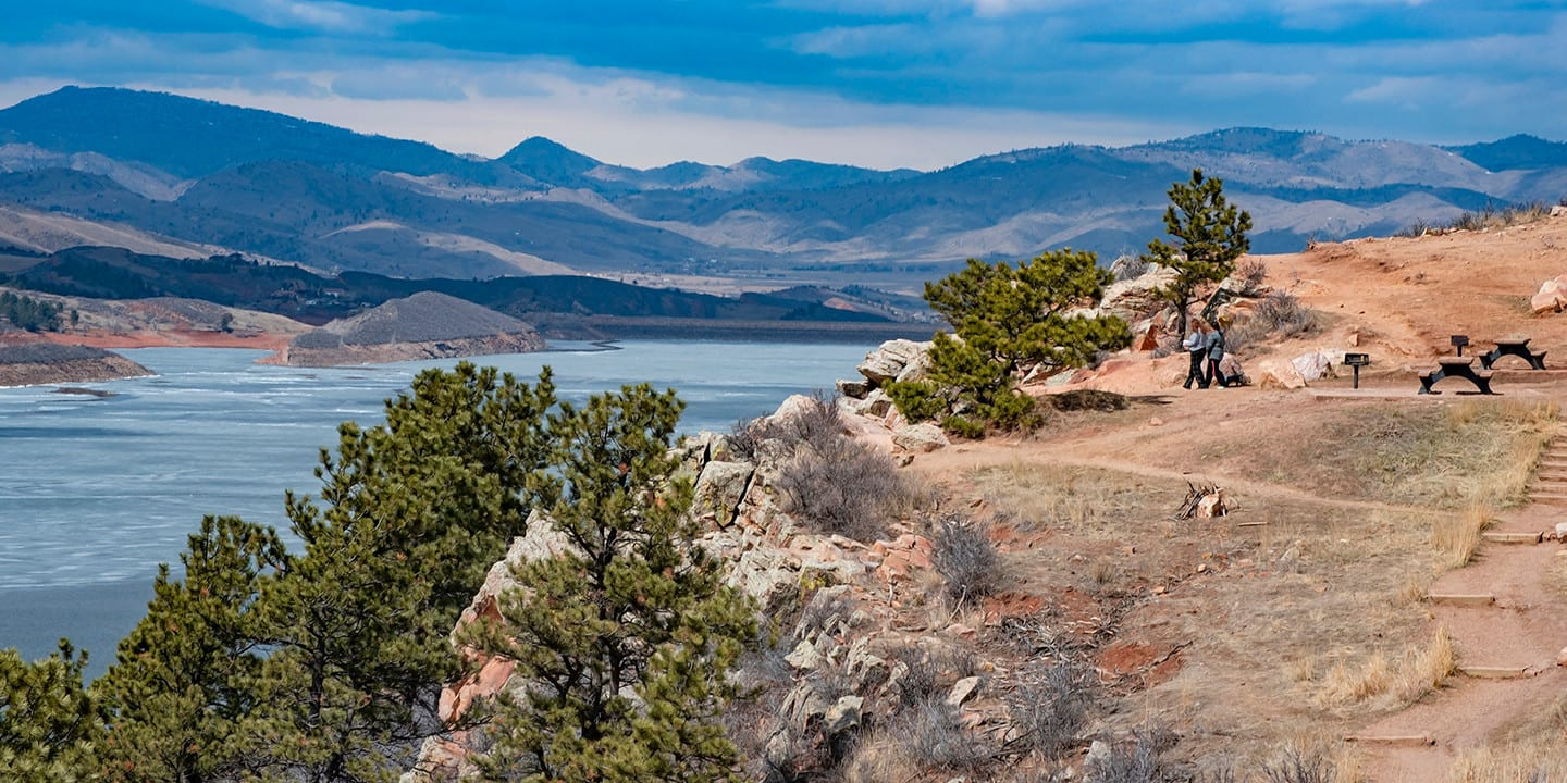 Image of Rotary Park looking out at Horsetooth Reservoir in Fort Collins, Colorado