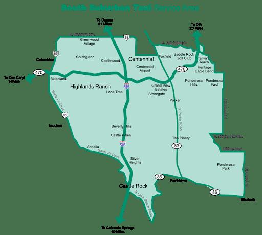South Suburban Taxi Servicer Map