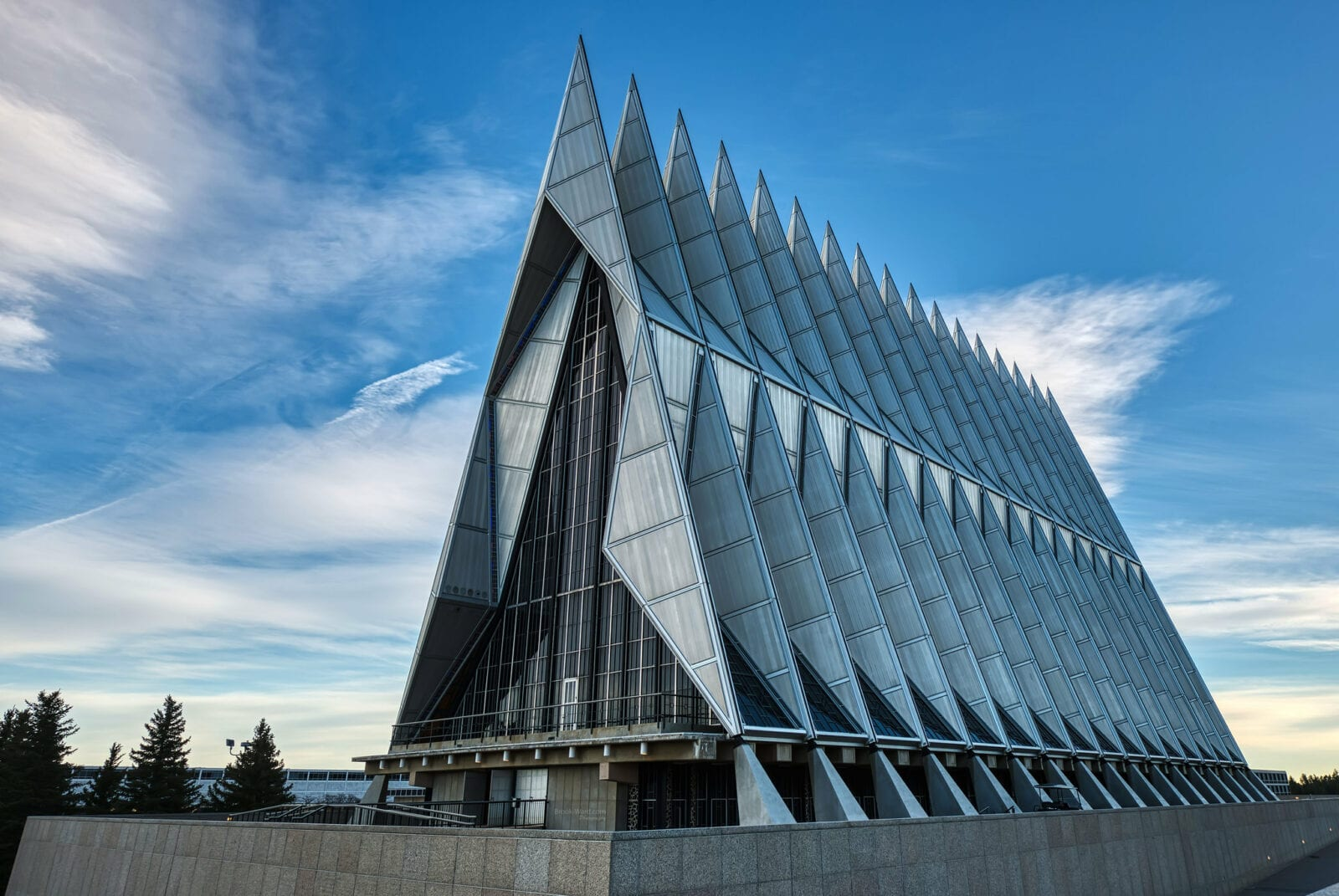 Image of the exterior of the US Air Force Cadet Chapel in Colorado Springs, Colorado