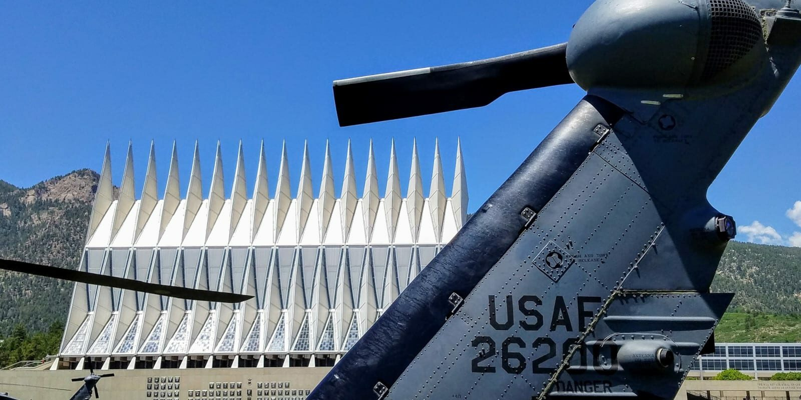 Image of a helicopter in front of the US Air Force Cadet Chapel in Colorado Springs, Colorado